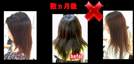 縮毛矯正の失敗は常に過剰な技術方法や技術の安定が伴っていなければこのようになる。